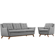 Beguile Living Room Set Upholstered Fabric Set of 2, Grey, Fabric 11322