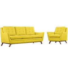 Beguile Living Room Set Upholstered Fabric Set of 2, Yellow, Fabric 11324