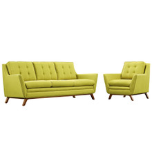 Beguile Living Room Set Upholstered Fabric Set of 2, Green, Fabric 11325