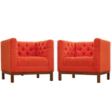 Panache Living Room Set Upholstered Fabric Set of 2, Red, Fabric 11342