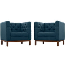 Panache Living Room Set Upholstered Fabric Set of 2, Navy, Fabric 11343