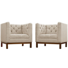 Panache Living Room Set Upholstered Fabric Set of 2, Beige, Fabric 11344