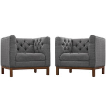 Panache Living Room Set Upholstered Fabric Set of 2, Grey, Fabric 11345