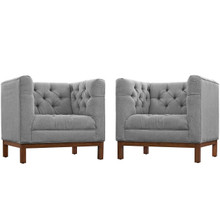 Panache Living Room Set Upholstered Fabric Set of 2, Grey, Fabric 11346