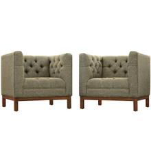 Panache Living Room Set Upholstered Fabric Set of 2, Grey, Fabric 11348