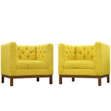 Panache Living Room Set Upholstered Fabric Set of 2, Yellow, Fabric 11349
