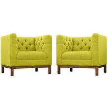 Panache Living Room Set Upholstered Fabric Set of 2, Green, Fabric 11350