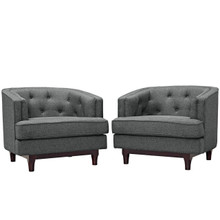 Coast Armchairs Set of 2, Grey, Fabric 11423