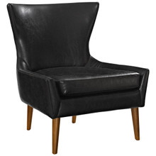 Keen Upholstered Vinyl Armchair, Black, Faux Leather 11458
