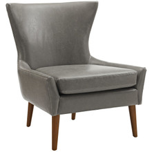Keen Upholstered Vinyl Armchair, Grey, Faux Leather 11461
