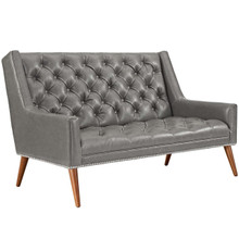 Peruse Upholstered Vinyl Loveseat, Grey, Faux Leather 11476