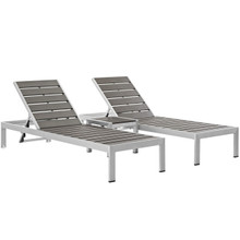 Shore Three PCS Outdoor Patio Aluminum Set, Grey, Metal 11482