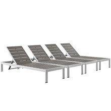 Shore Chaise Outdoor Patio Aluminum Set of 4, Grey, Metal 11484