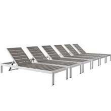 Shore Chaise Outdoor Patio Aluminum Set of 6, Grey, Metal 11485