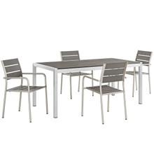Shore Five PCS Outdoor Patio Aluminum Dining Set, Grey, Metal 11503