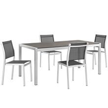 Shore Five PCS Outdoor Patio Aluminum Dining Set, Black, Metal 11504