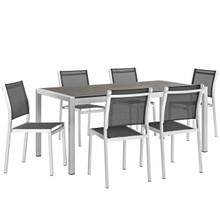 Shore Seven PCS Outdoor Patio Aluminum Dining Set, Black, Metal 11506
