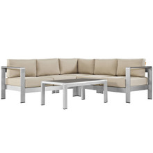 Shore Four PCS Outdoor Patio Aluminum Sectional Sofa Set, Beige, Metal 11534