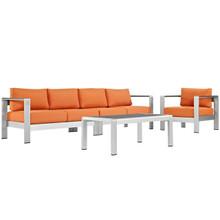 Shore Four PCS Outdoor Patio Aluminum Sectional Sofa Set, Orange, Metal 11553