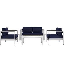 Shore Six PCS Outdoor Patio Aluminum Sectional Sofa Set, Navy, Metal 11572