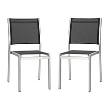 Shore Side Chair Outdoor Patio Aluminum Set of 2, Black, Metal 11575