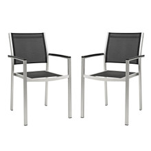 Shore Dining Chair Outdoor Patio Aluminum Set of 2, Black, Metal 11576