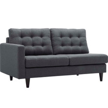Empress Left-Facing Upholstered Fabric Loveseat, Grey, Fabric 11580