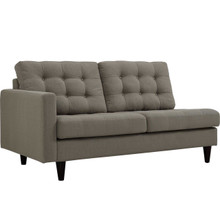 Empress Left-Facing Upholstered Fabric Loveseat, Grey, Fabric 11581