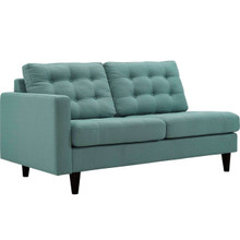 Empress Left-Facing Upholstered Fabric Loveseat, Blue, Fabric 11582