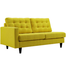 Empress Left-Facing Upholstered Fabric Loveseat, Yellow, Fabric 11585