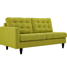 Empress Left-Facing Upholstered Fabric Loveseat, Green, Fabric 11586