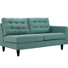 Empress Right-Facing Upholstered Fabric Loveseat, Blue, Fabric 11590