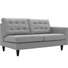 Empress Right-Facing Upholstered Fabric Loveseat, Grey, Fabric 11591