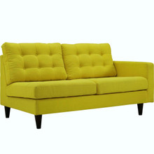 Empress Right-Facing Upholstered Fabric Loveseat, Yellow, Fabric 11593
