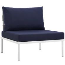 Harmony Armless Outdoor Patio Aluminum Chair, Navy, Rattan 11613