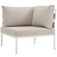 Harmony Outdoor Patio Aluminum Corner Sofa, Beige, Rattan 11615