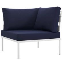 Harmony Outdoor Patio Aluminum Corner Sofa, Navy, Rattan 11617