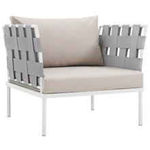 Harmony Outdoor Patio Aluminum Armchair, Beige, Rattan 11619