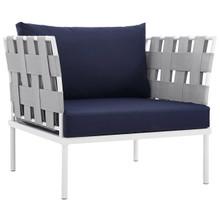 Harmony Outdoor Patio Aluminum Armchair, Navy, Rattan 11621