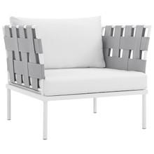 Harmony Outdoor Patio Aluminum Armchair, White, Rattan 11622