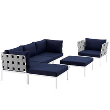 Harmony Six PCS Outdoor Patio Aluminum Sectional Sofa Set, Navy, Rattan 11704