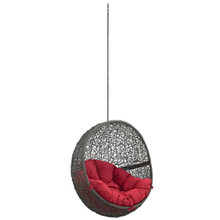 Hide Outdoor Patio Swing Chair Without Stand, Red, Rattan 11734