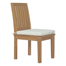 Marina Outdoor Patio Teak Dining Chair, White, Wood 11780