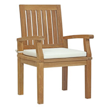 Marina Outdoor Patio Teak Dining Chair, White, Wood 11781
