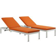 Shore Three PCS Outdoor Patio Aluminum Chaise with Cushions, Orange, Metal 11788