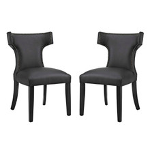 Curve Dining Side Chair Vinyl Set of 2, Black, Faux Leather 11834