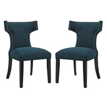 Curve Dining Side Chair Fabric Set of 2, Navy, Fabric 11836