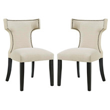 Curve Dining Side Chair Fabric Set of 2, Beige, Fabric 11837