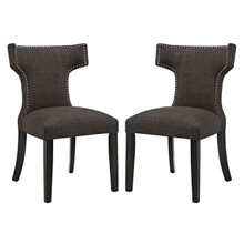 Curve Dining Side Chair Fabric Set of 2, Brown, Fabric 11838