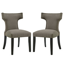Curve Dining Side Chair Fabric Set of 2, Grey, Fabric 11839